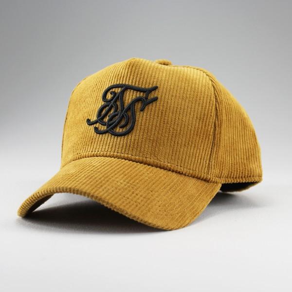 Kšiltovka SIKSILK Corduroy Full Trucker mustard