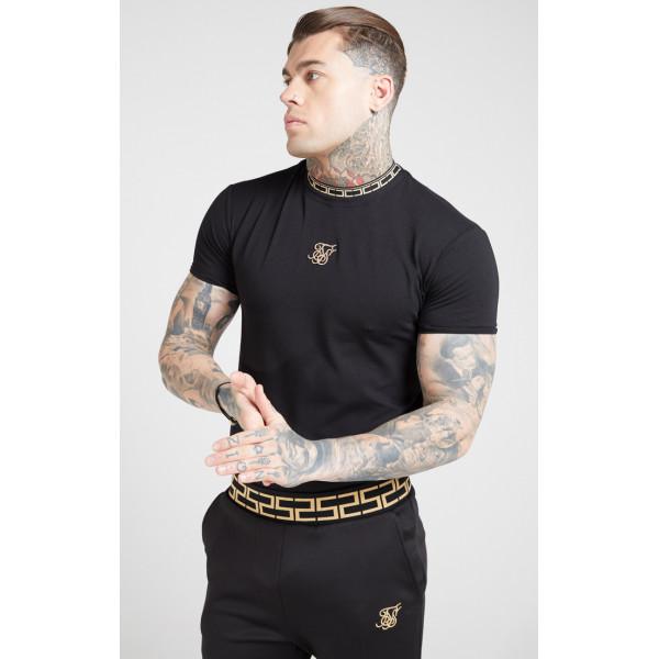 Tričko SIK SILK Collar Gym Tee black