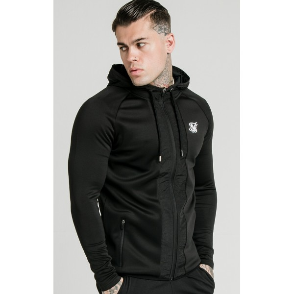Mikina SIK SILK Creased Nylon Hoodie black