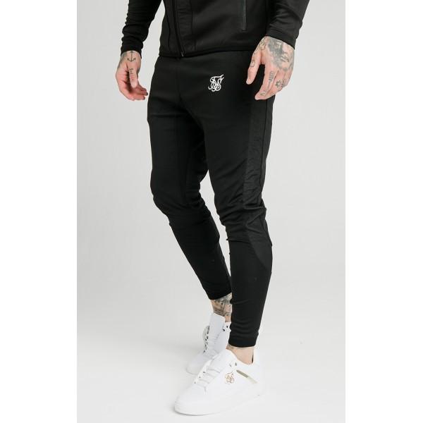Tepláky SIK SILK Creased Nylon Pants black