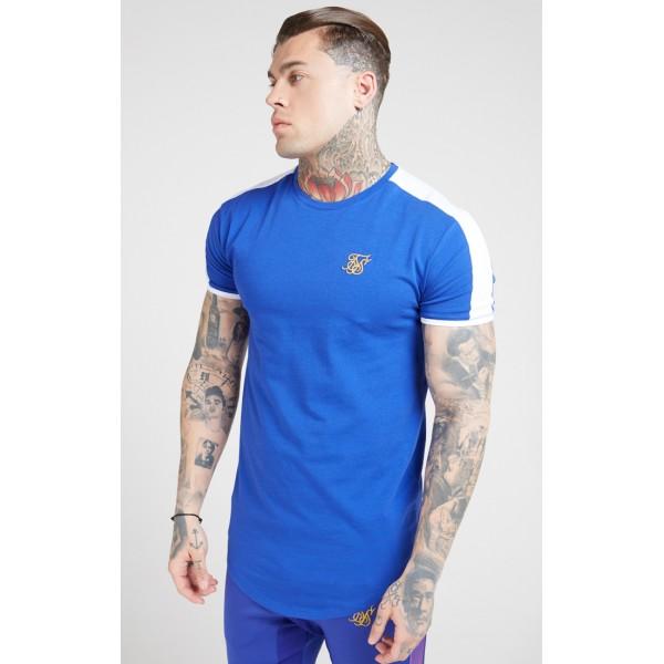 Tričko SIK SILK Panel Gym Tee neon blue