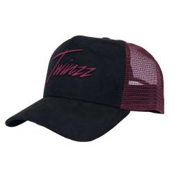 Kšiltovka TWINZZ Lightening Suede Trucker black/burgundy