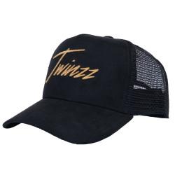 Kšiltovka TWINZZ Lightening Suede Trucker black/gold
